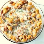Conchiglioni al forno con funghi e mozzarella