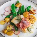 Filetto di merluzzo con speck e patate al limone