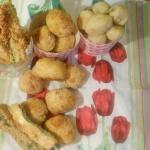finger food: pallotte alle olive,stick di zucchine,palline di pane e pesce