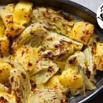 finocchi gratinati con patate e prosciutto crudo