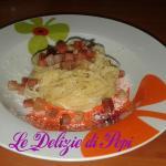 Pasta con speck e gorgonzola