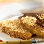 Pere fritte con pastella al cocco