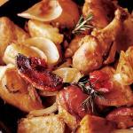 Pollo al forno con pancetta e patate