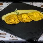 ravioloni baccalà e ricotta su vellutata di patate