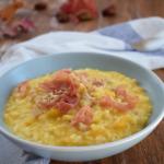 risotto alla zucca con castagne e prosciutto croccante