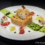 risotto con tartare di gamberi, pompelmo e bergamotto