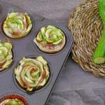 rose di sfoglia con zucchine e prosciutto