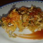 Straccetti di maiale con verdure e salsa agrodolce