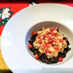 Tartare di cernia con melograno su riso venere