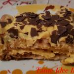 TiramisÙ con crema pasticcera e scaglie di cioccolato fondente