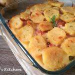 tortino di patate con besciamella e prosciutto