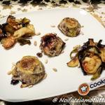Tortino di porri con alici, olive taggiasche, pinoli e capperi