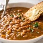 zuppetta di lenticchie con speck e crostini