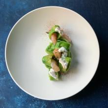 Calamarata alla crema di broccoli e gamberi rosa