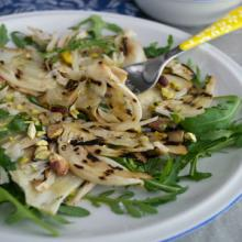 finocchi grigliati rucola grana e pistacchi