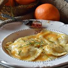 ravioli salmone e arancia