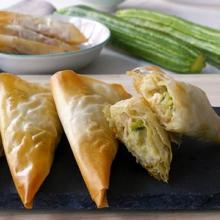 triangolini zucchine e gamberetti (bimby)