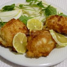Baccalà impanato con insalata di finocchi e rucola