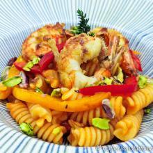 Fusilli gluten free con peperoni e gamberoni