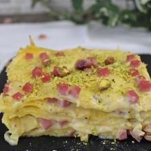Lasagne al pistacchio e prosciutto cotto