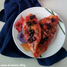 Pangasio con olive pomodoro e capperi