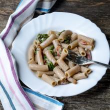 Pasta gorgonzola asparagi e guanciale