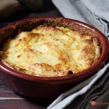 Purè di patate con mozzarella e prosciutto cotto