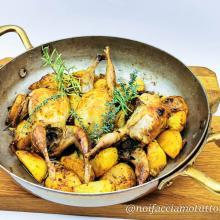 Quaglie al forno con patate e nduja