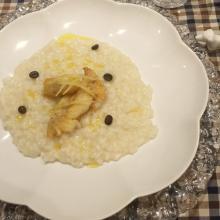 risotto al caffè e limone con pesce persico