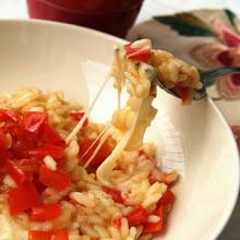 Risotto con peperoni e provola affumicata