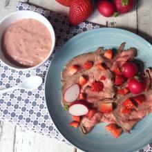 Roast beef con salsa di fragole