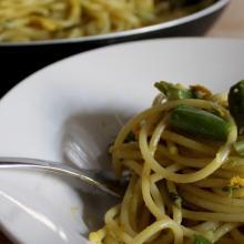 Spaghetti carbonari con fagiolini