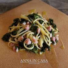 Spaghetti con cime di rapa e pancetta