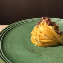 spaghetti mantecati alla zucca e salsiccia