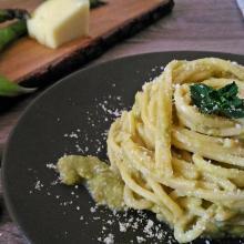 spaghettoni alle crema di fave e pecorino