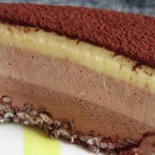 torta bavarese ai tre cioccolati, montersino