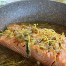 trancio di salmone al limone in padella