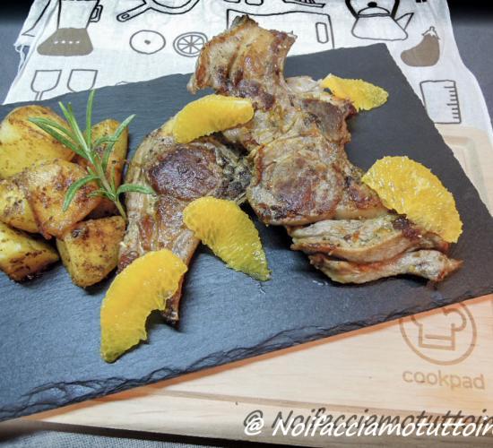 costolette di agnello all'arancia con patate saporite