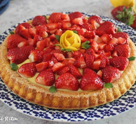 Crostata furba con crema al limone  e fragole