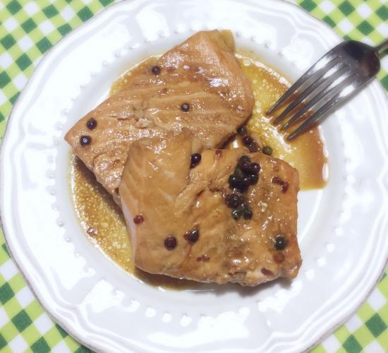 Filetto di salmone al pepe verde e rosa