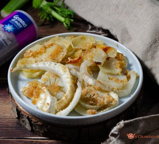 Finocchi e patate gratinati al forno