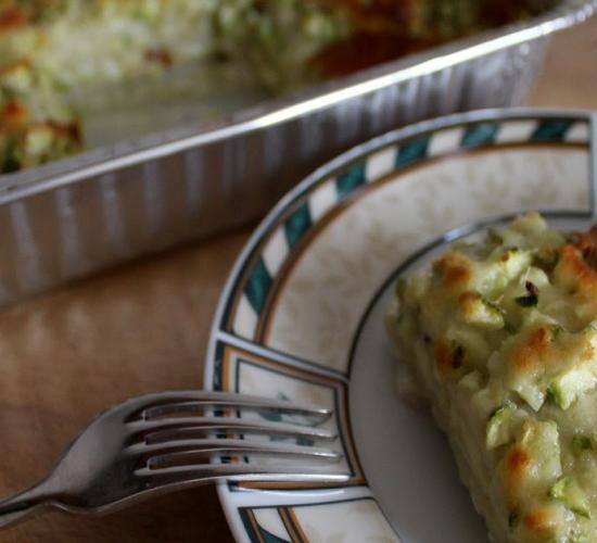 Lasagne di pane al pesto e zucchine