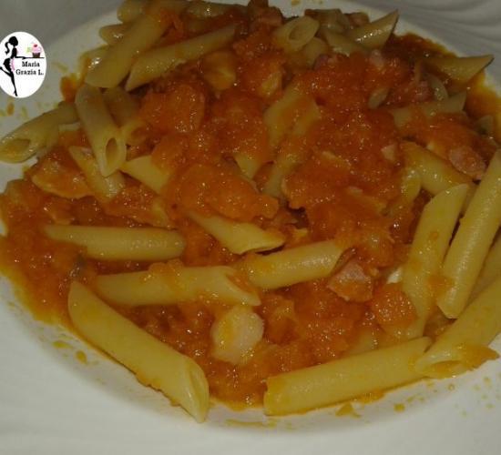 penne con zucca pancetta e mozzarella (video)