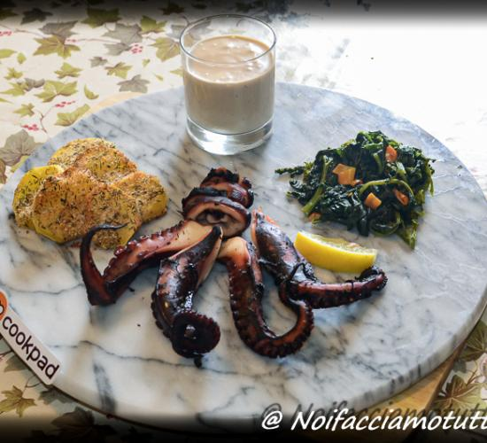 Polpo sous vide con la sua maionese e verdure spadellate