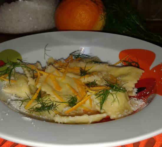 Ravioli al finocchietto selvatico e arancia