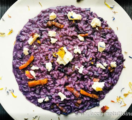 Risotto al cavolo viola con pancetta e feta
