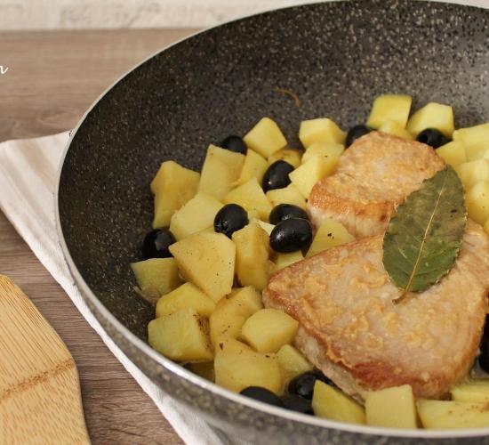 scaloppine di tonno con patate e olive