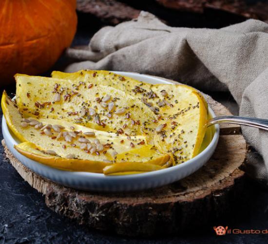 Zucca al forno con semi di girasole e lino